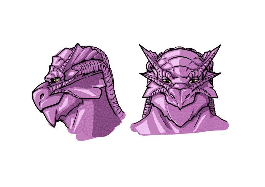 Desenho de Personagem: Guerreiro Draconato (Cabeça)
