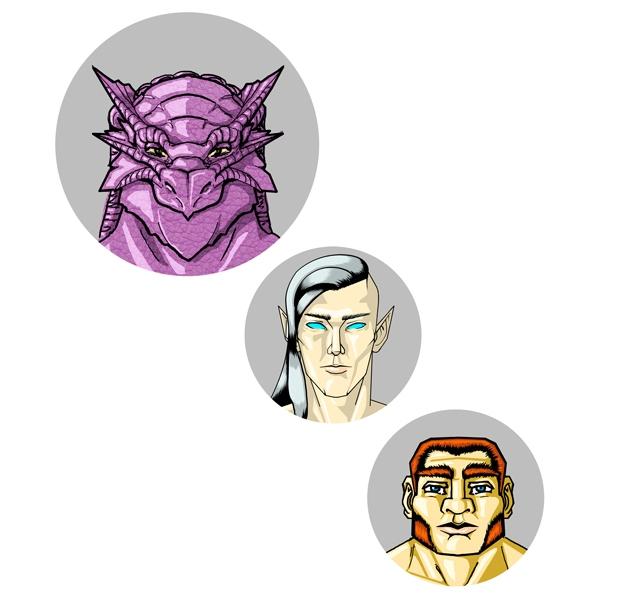 Desenho de Personagem: Grupo Reunido (Cabeça)