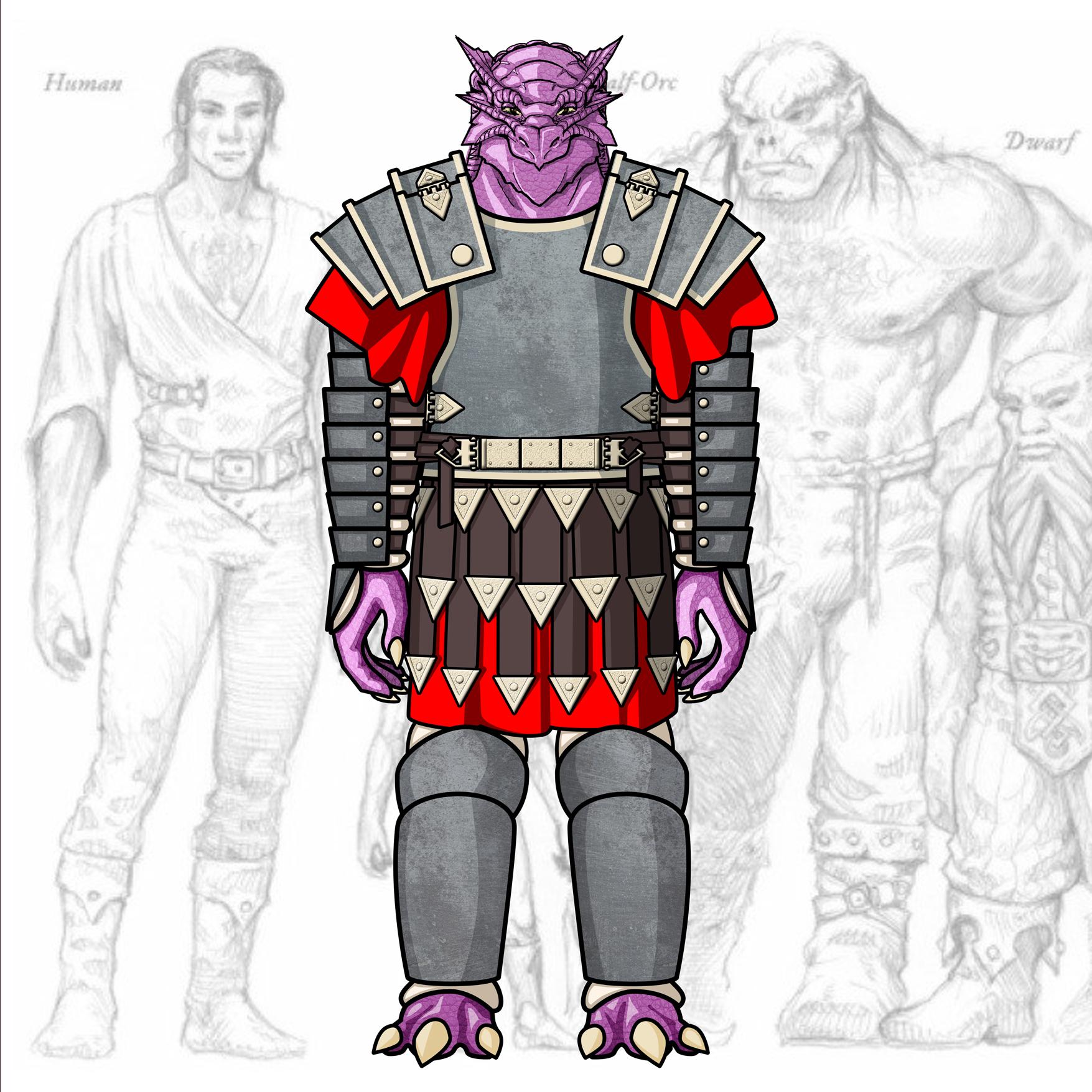 Desenho de Personagem: Dragonato Guerreiro (corpo inteiro)