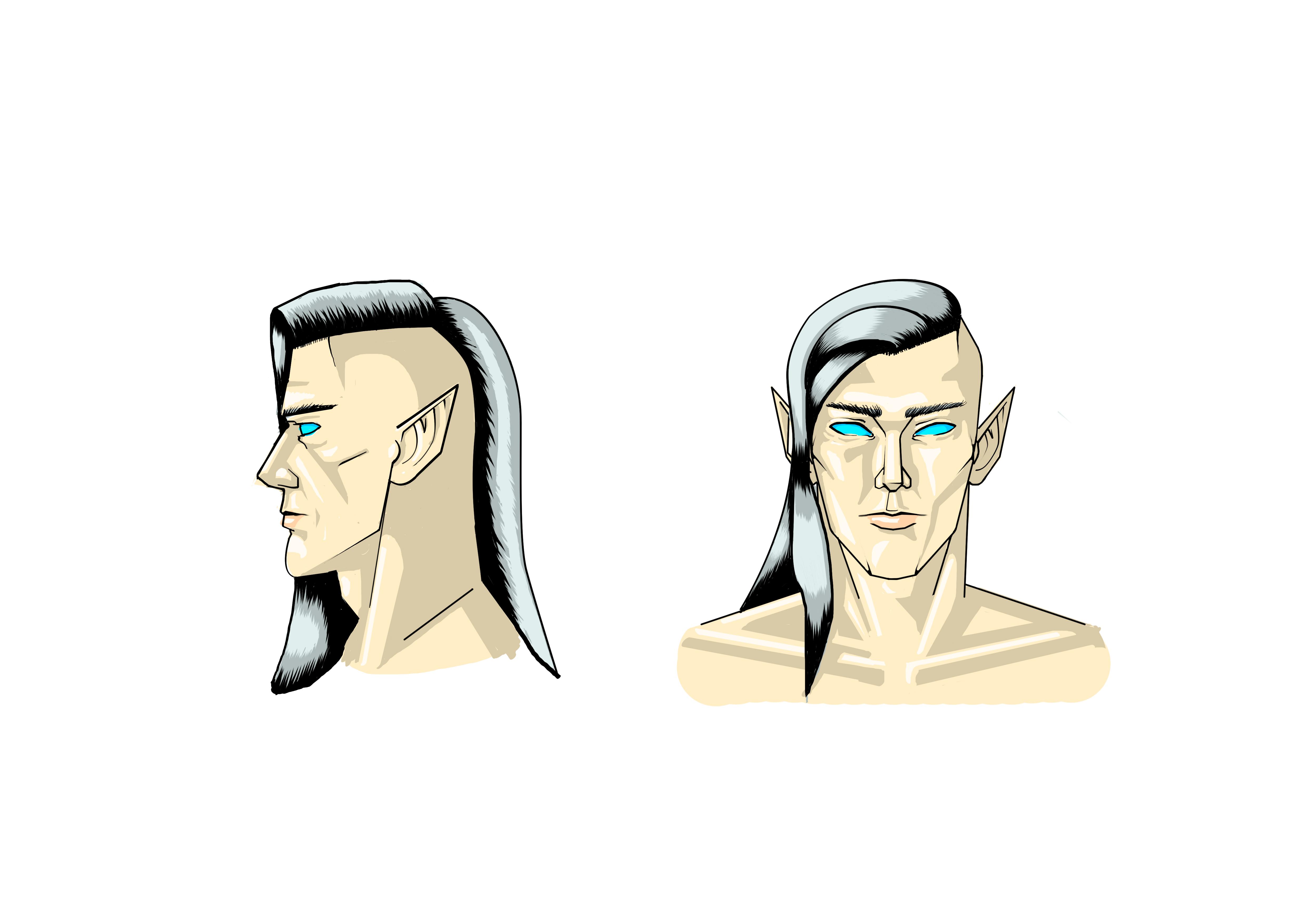 Desenho de Personagem: Mago Eladrin (Cabeça)