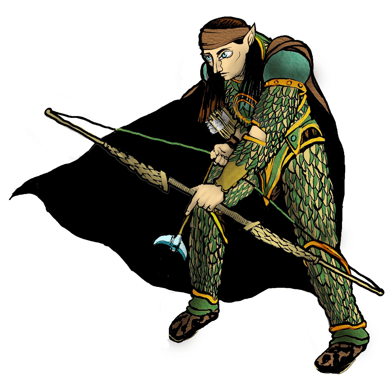 Desenho de Personagem: Aramil Ranger Elfo (detalhe)