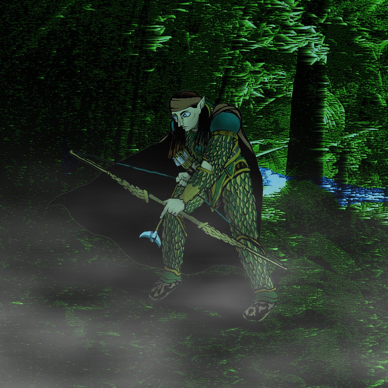 Desenho de Personagem: Aramil Ranger Elfo (ambientado)